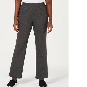 Karen Scott Sport Side-Pocket Active Fleece Pants